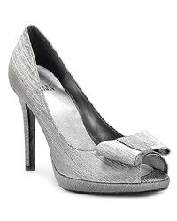 Stuart Weitzman | Metallic Bowright Lame - Pewter Lame Peep Toe Pump | Lyst