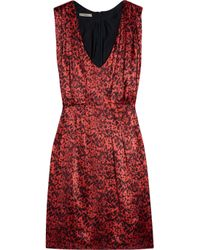Thurley | Red Tucket Animal-print Silk-satin Dress | Lyst