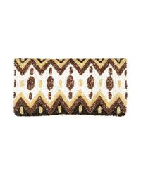 TOPSHOP - Natural Premium Beaded Clutch Bag - Lyst