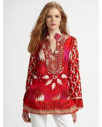 Tory Burch | Red Iveta Silk Tunic | Lyst