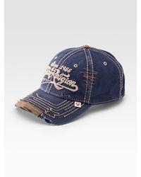 True Religion - Blue Script Logo Baseball Cap for Men - Lyst