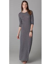 Velvet By Graham & Spencer - Blue Yuelle Heather Grey Stripe Maxi Dress - Lyst
