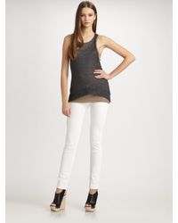 Vince - Gray Metallic Racerback Sweater Tank Top - Lyst