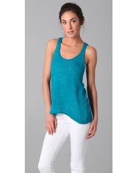 Vince | Blue Linen Knit Tank | Lyst