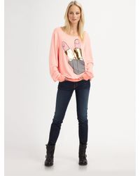 Wildfox | Pink Brigitte Oversized Lipstick-Print Sweater | Lyst