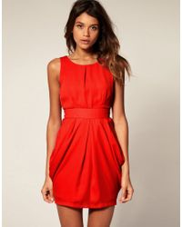 ASOS Collection | Red Asos Tulip Dress with Tie Back | Lyst