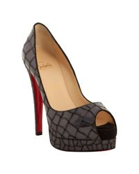 Christian Louboutin - Gray Grey Patent Leather Sobek 140 Mosaic Peep Toe Pumps - Lyst