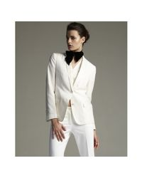 Dolce & Gabbana | White Silk Blend Faille Trim Two Button Jacket | Lyst