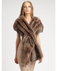 Donna Karan | Brown Shearling Scarf | Lyst