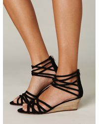 Free People | Black Queen Wedge Sandal | Lyst