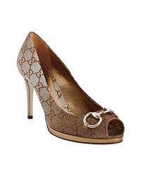 Gucci | Metallic Gold And Beige Gg Canvas Peep Toe Horsebit Pumps | Lyst