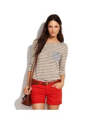 Madewell | Red Garment-dyed Midi Shorts | Lyst