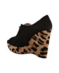 Prada | Black Suede Leopard Print Calf Hair Peep Toe Wedges | Lyst
