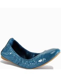 Tory Burch | Blue Teal Patent Leather Ballet Flat | Lyst