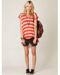 Free People - Red Short Sleeve Stripe Chiffon Back Tunic - Lyst