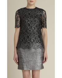 Adam Lippes | Silver Metallic Lace and Tweed Dress | Lyst