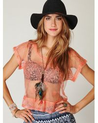 Free People | Pink Embroidered Mesh Crop Top | Lyst