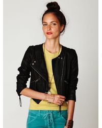 Free People | Black Cropped Vegan Leather Double Breasted Jacket | Lyst