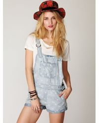 Free People | Blue Chambray Floral Overall | Lyst