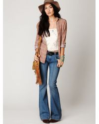 Free People   Blue Pintuck Flare   Lyst