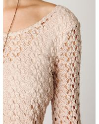 Free People | Natural Crochet Bell Sleeve Top | Lyst