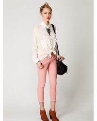 Free People | Pink Lace Up Cord Skinny | Lyst