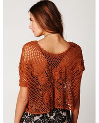 Free People | Brown Fp New Romantics Bloom Crochet Top | Lyst