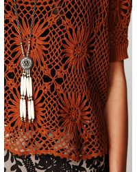 Free People - Brown Fp New Romantics Bloom Crochet Top - Lyst