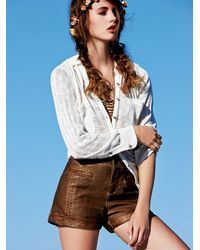 Free People | Brown Washed Vegan Leather Short | Lyst