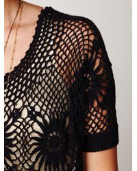 Free People - Black Fp New Romantics Bloom Crochet Top - Lyst