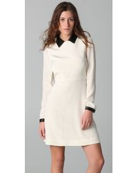 Tibi - Natural Long Sleeve Dress with Leather Collar & Cuffs - Lyst