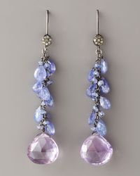Wendy Brigode - Purple Amethyst & Diamond Drop Earrings - Lyst