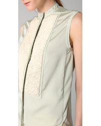 3.1 Phillip Lim - Green Tuxedo Shirt with Chevron Beading - Lyst