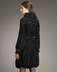 Armani | Black Shawl-collar Chenille Coat | Lyst