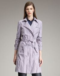 Armani | Purple Belted Trench | Lyst