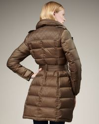 Burberry Brit - Brown Leather-detail Puffer Coat - Lyst
