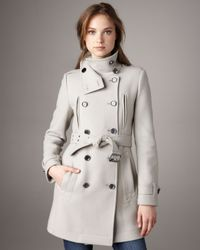 Burberry Brit | Natural Zip-detail Wool Trenchcoat | Lyst