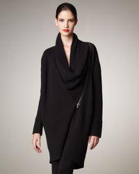 Donna Karan | Black Asymmetric Cashmere Coat | Lyst