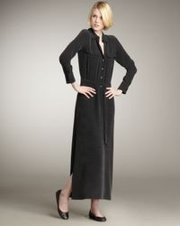 Equipment - Black Tie-waist Maxi Shirtdress - Lyst