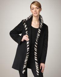 Fleurette - Black Fur-trim Coat - Lyst