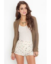 Nasty Gal - Natural Confetti Sequin Shorts - Lyst
