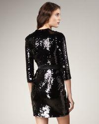 Rachel Zoe | Black Yvonne Sequined Wrap Dress | Lyst
