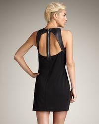 Royal Underground | Black Leather-trim Halter Dress | Lyst