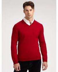 Saks Fifth Avenue   Red Merino Wool Sweater for Men   Lyst