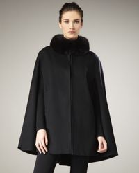 Sofia Cashmere | Black Fur-collar Cape | Lyst