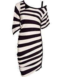 Sonia Rykiel | Black Asymmetric Striped Cotton Dress | Lyst
