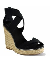 Tory Burch | Adonis - Black Canvas Espadrille Wedge Sandal | Lyst