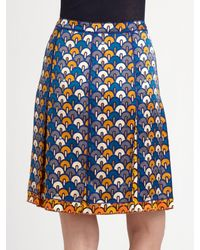 Tory Burch - Blue Kamille Printed Pleated Skirt - Lyst
