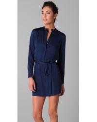 VINCE | Blue Shirtdress | Lyst