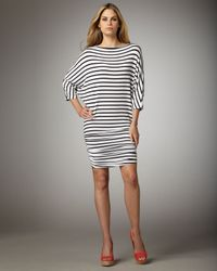 Alice + Olivia | Black Salem Striped Jersey Dress | Lyst